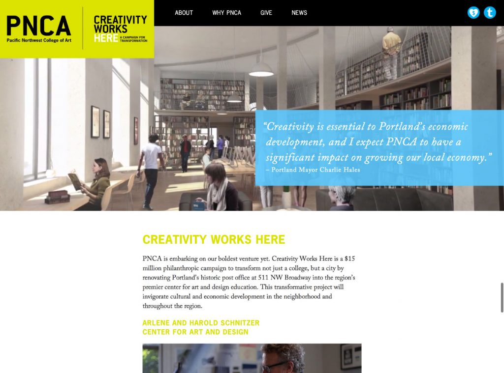 Creativity Works Here marketing site for PNCA